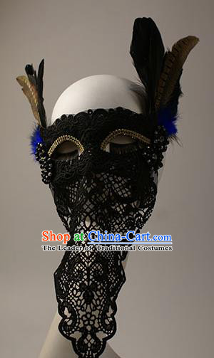 Halloween Exaggerated Black Lace Face Mask Fancy Ball Props Stage Performance Accessories Christmas Mysterious Masks