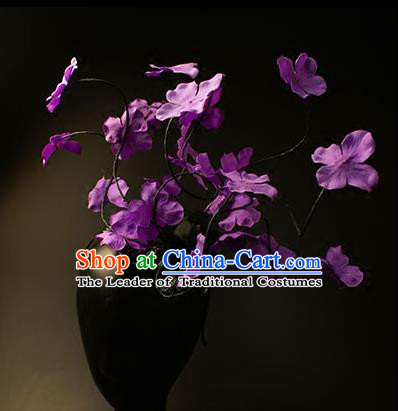 Top Grade Catwalks Hair Accessories Halloween Purple Flowers Hair Clasp Stage Performance Modern Fancywork Headwear