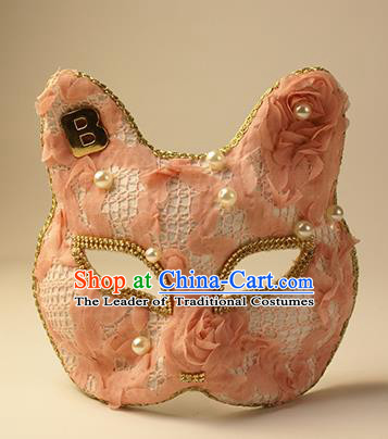 Halloween Exaggerated Pink Cat Face Mask Fancy Ball Props Stage Performance Accessories Christmas Mysterious Masks