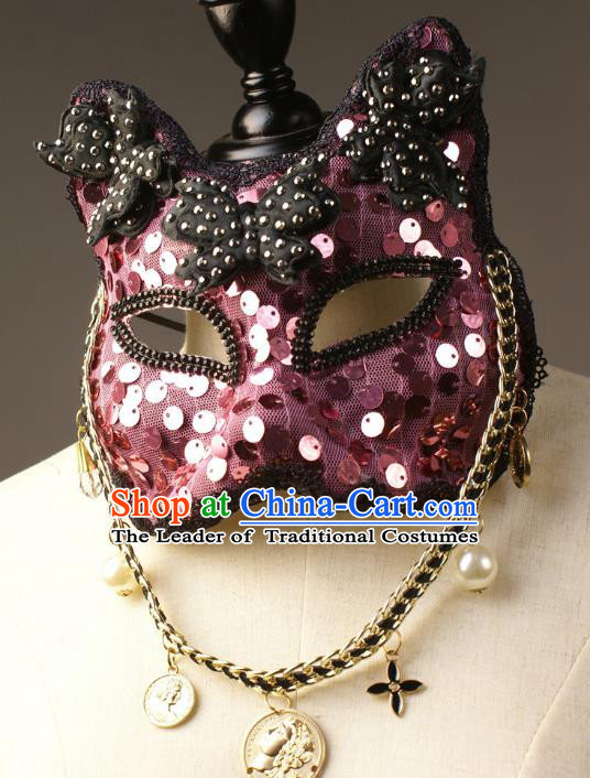 Halloween Exaggerated Purple Face Mask Fancy Ball Props Stage Performance Accessories Christmas Mysterious Masks