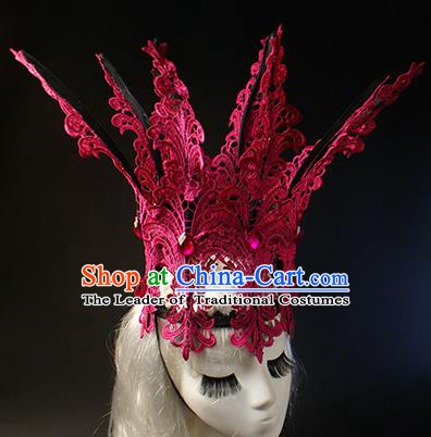 Top Grade Christmas Catwalks Hair Accessories Halloween Stage Performance Rosy Lace Royal Crown Modern Fancywork Headwear