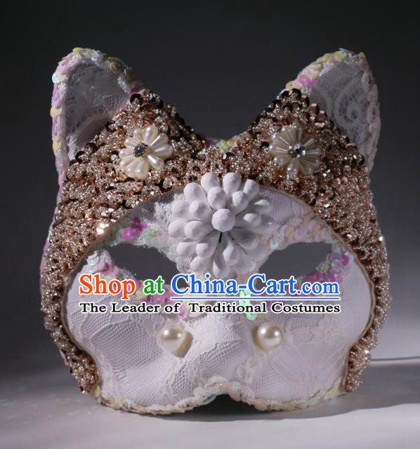 Halloween Exaggerated White Lace Fox Face Mask Fancy Ball Props Stage Performance Accessories Christmas Mysterious Masks