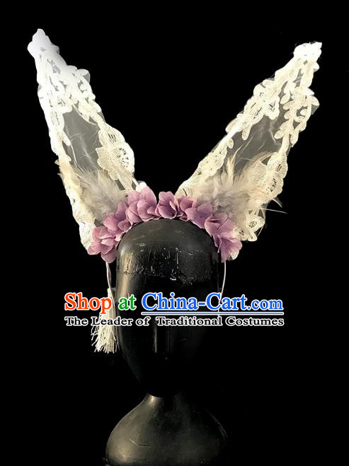 Top Grade Catwalks Gothic Hair Accessories Exaggerated Lace Cat Ear Headdress Halloween Modern Fancywork Headwear