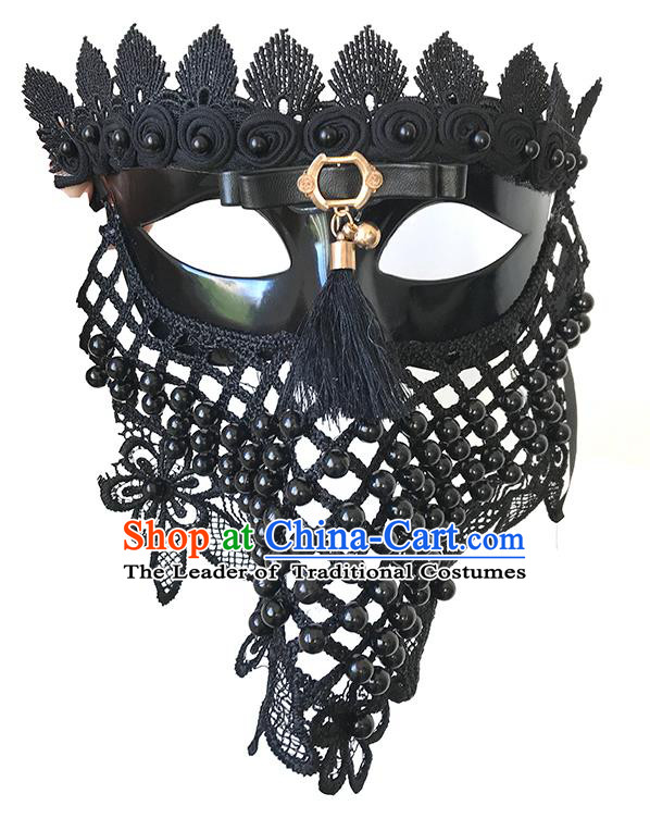 Halloween Catwalks Venice Face Mask Fancy Ball Black Lace Masks Christmas Exaggerated Feather Masks