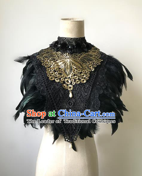 Top Grade Catwalks Gothic Shoulder Accessories Exaggerated Black Feather Cape Halloween Modern Fancywork Headwear