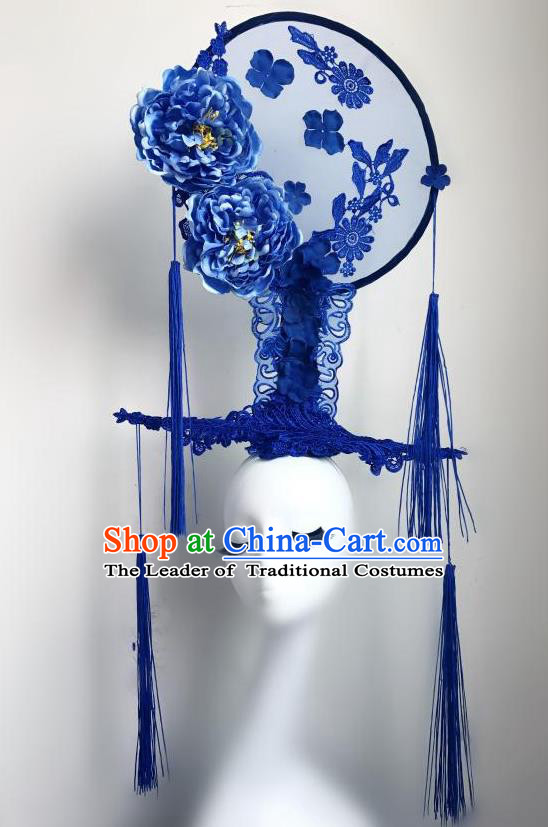 Top Grade Chinese Traditional Catwalks Hair Accessories Exaggerated Palace Blue Peony Headdress Halloween Modern Fancywork Headwear