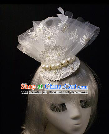 Top Grade Wedding Catwalks Hair Accessories Halloween Modern Fancywork White Lace Hair Clasp Headwear