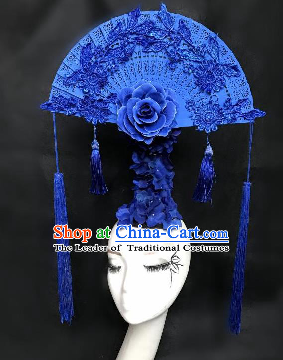 Top Grade Chinese Traditional Catwalks Hair Accessories Exaggerated Palace Blue Fan-Shape Headdress Halloween Modern Fancywork Headwear