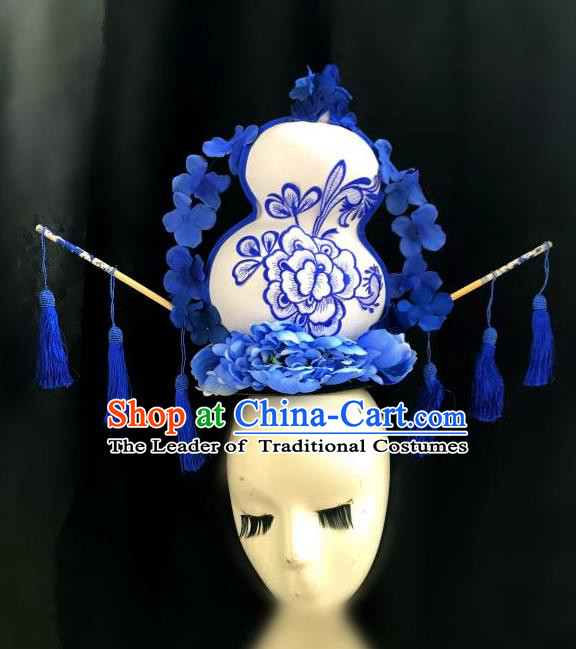 Top Grade Chinese Traditional Catwalks Hair Accessories Exaggerated Palace Pincess Calabash Headdress Halloween Modern Fancywork Headwear