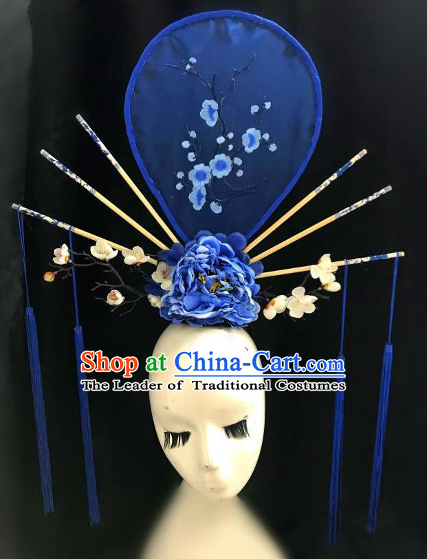 Top Grade Chinese Traditional Catwalks Hair Accessories Exaggerated Palace Pincess Blue Headdress Halloween Modern Fancywork Headwear