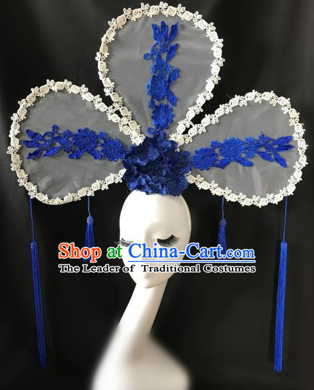 Top Grade Chinese Traditional Catwalks Hair Accessories Exaggerated Palace Pincess Headdress Halloween Modern Fancywork Headwear
