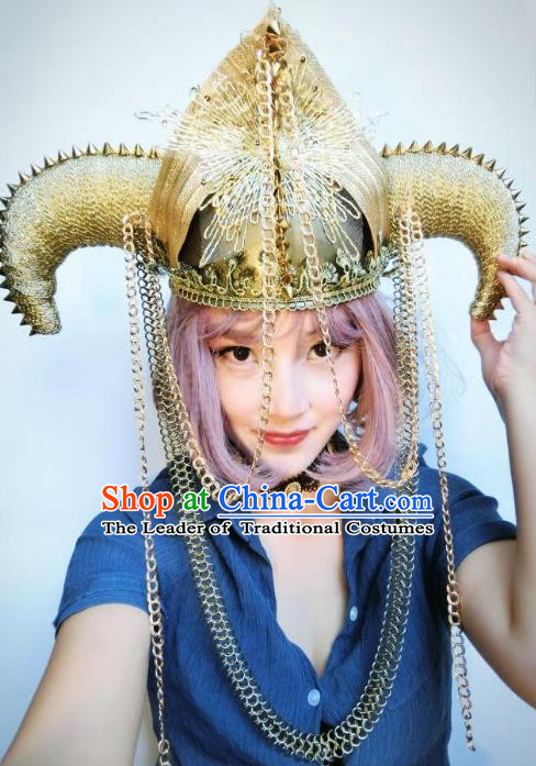 Top Grade Catwalks Tassel Hair Accessories Exaggerated Ox Horn Golden Hats Halloween Modern Fancywork Headwear