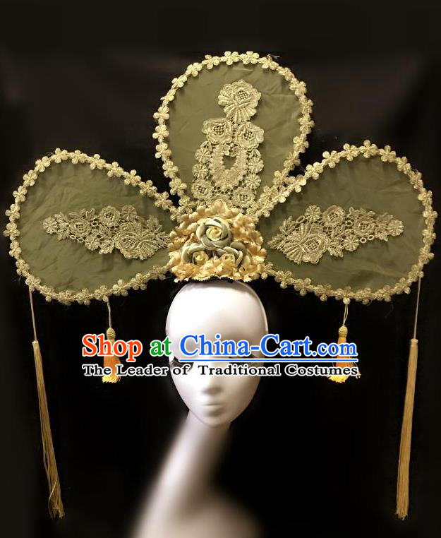 Top Grade Catwalks Tassel Hair Accessories Exaggerated Chinese Traditional Headdress Modern Fancywork Headwear