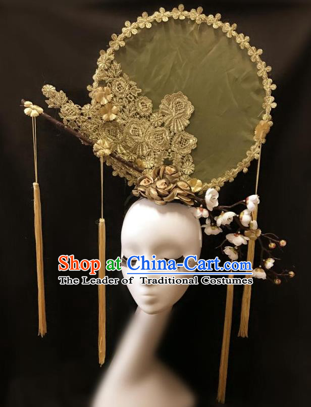 Top Grade Catwalks Tassel Hair Accessories Exaggerated Chinese Traditional Golden Lace Headdress Modern Fancywork Headwear