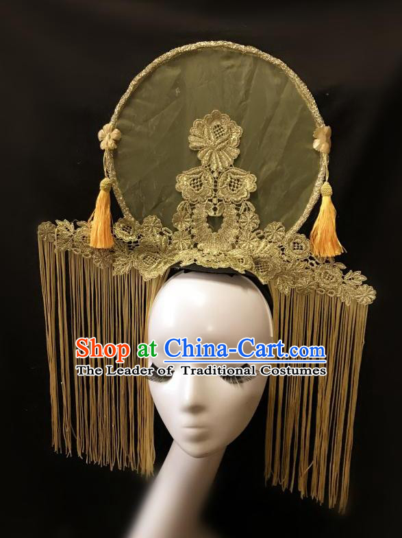 Top Grade Catwalks Tassel Hair Accessories Exaggerated Chinese Traditional Golden Tassel Headdress Modern Fancywork Headwear