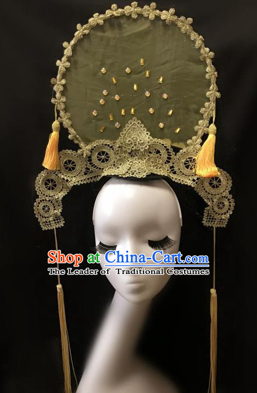 Top Grade Catwalks Tassel Hair Accessories Exaggerated Chinese Traditional Golden Headdress Modern Fancywork Headwear
