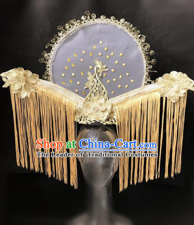 Top Grade Catwalks Golden Tassel Hair Accessories Exaggerated Chinese Traditional Headdress Modern Fancywork Headwear