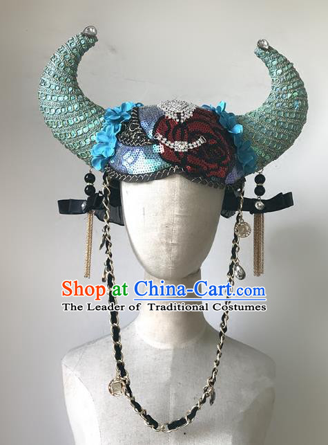 Top Grade Catwalks Hair Accessories Exaggerated Blue Ox Horn Hats Modern Fancywork Headwear