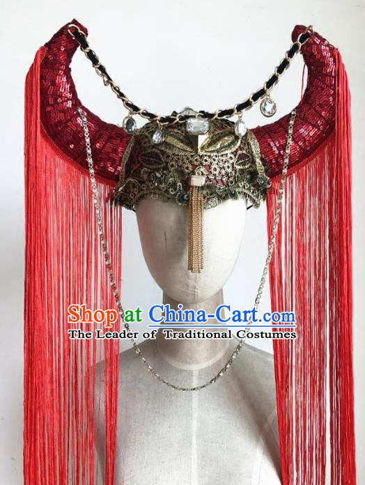 Top Grade Catwalks Hair Accessories Exaggerated Red Tassel Ox Horn Hats Modern Fancywork Headwear
