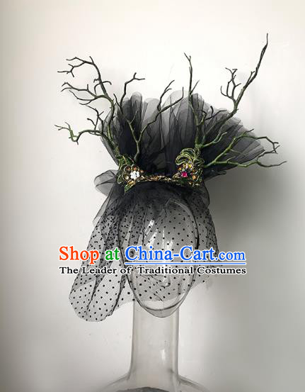 Top Grade Catwalks Hair Accessories Exaggerated Black Veil Hair Clasp Modern Fancywork Headwear