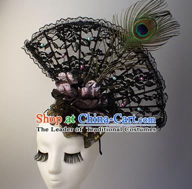 Top Grade Catwalks Chinese Traditional Hair Accessories Halloween Modern Fancywork Black Lace Headwear