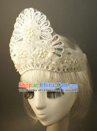 Top Grade Catwalks Hair Accessories White Lace Pearls Royal Crown Halloween Modern Fancywork Headwear