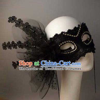 Halloween Exaggerated Queen Black Flowers Face Mask Venice Fancy Ball Props Catwalks Accessories Christmas Masks