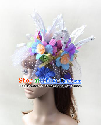 Top Grade Catwalks Hair Accessories Exaggerated Flowers Royal Crown Halloween Modern Fancywork Headwear