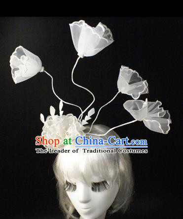 Top Grade Catwalks Hair Accessories White Veil Hair Clasp Halloween Modern Fancywork Headwear