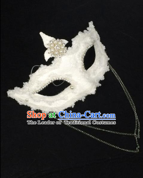 Halloween Exaggerated Pearls Face Mask Venice Fancy Ball Props Catwalks Accessories Christmas Masks
