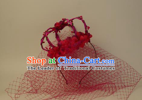 Top Grade Catwalks Hair Accessories Red Flowers Royal Crown Halloween Modern Fancywork Headwear