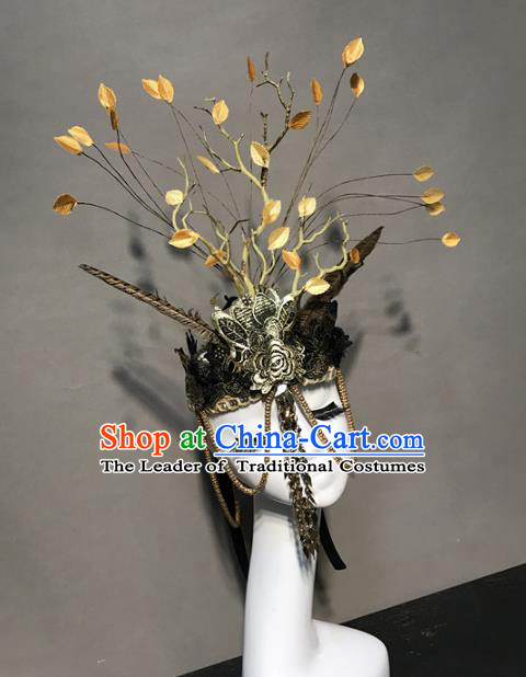 Top Grade Catwalks Retro Hair Accessories Exaggerated Royal Crown Halloween Modern Fancywork Headwear