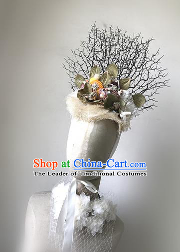 Top Grade Catwalks Hair Accessories Exaggerated Branch Headdress Halloween Modern Fancywork Headwear