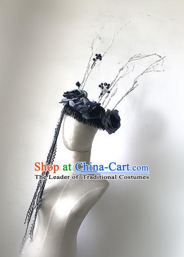 Top Grade Catwalks Tassel Hair Accessories Exaggerated Branch Headdress Halloween Modern Fancywork Headwear