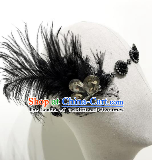 Top Grade Catwalks Hair Accessories Exaggerated Black Feather Headband Halloween Modern Fancywork Headwear