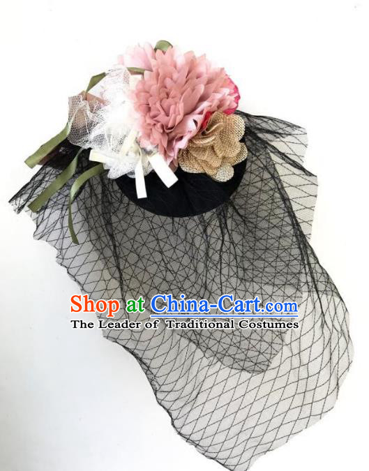Top Grade Catwalks Hair Accessories Exaggerated Top Hat Halloween Modern Fancywork Wedding Headwear
