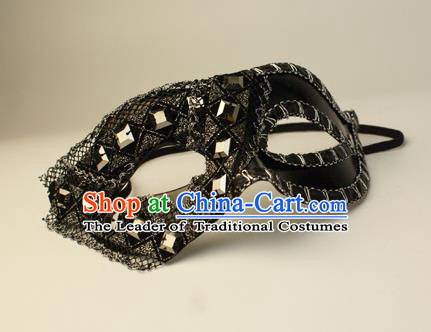 Halloween Exaggerated Rivet Black Face Mask Venice Fancy Ball Props Catwalks Accessories Christmas Masks