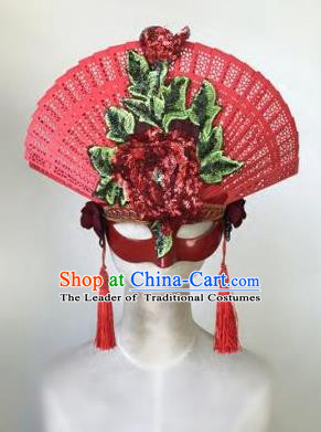 Top Grade Chinese Traditional Catwalks Embroidered Red Hair Accessories Exaggerated Halloween Modern Fancywork Wedding Headwear