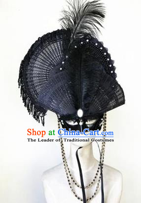Top Grade Chinese Traditional Catwalks Black Feather Hair Accessories Exaggerated Halloween Modern Fancywork Wedding Headwear
