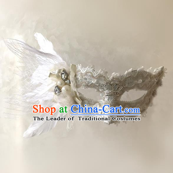 Halloween Venice Exaggerated White Feather Face Mask Fancy Ball Props Catwalks Accessories Christmas Masks