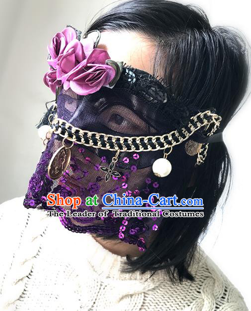 Halloween Venice Exaggerated Purple Sequins Lace Face Mask Fancy Ball Props Catwalks Accessories Christmas Masks