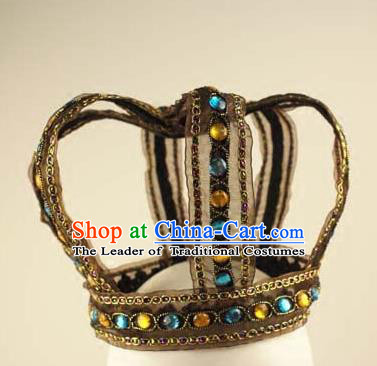 Top Grade Catwalks Hair Accessories Exaggerated Crystal Royal Crown Halloween Modern Fancywork Headwear