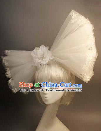 Top Grade Catwalks Hair Accessories Exaggerated White Veil Bowknot Hair Clasp Halloween Modern Fancywork Headwear