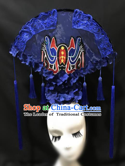 Top Grade Chinese Catwalks Hair Accessories Beijing Opera Headdress Exaggerated Halloween Modern Fancywork Headwear