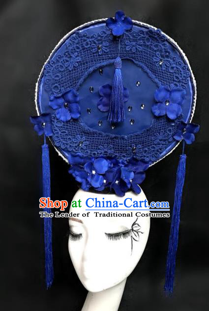 Top Grade Chinese Catwalks Hair Accessories Blue Lace Headdress Exaggerated Halloween Modern Fancywork Headwear