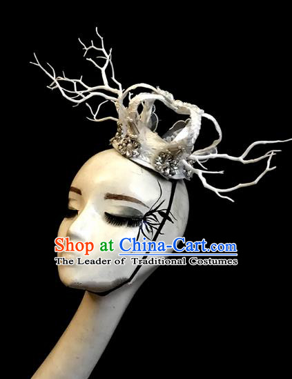 Top Grade Catwalks Hair Accessories Royal Crown Exaggerated Halloween Modern Fancywork Headwear