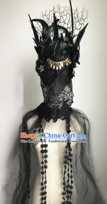 Halloween Catwalks Venice Black Feather Lace Face Mask Fancy Ball Props Accessories Christmas Exaggerated Masks