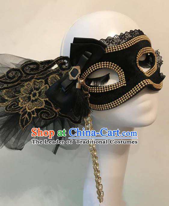 Halloween Catwalks Venice Black Lace Tassel Face Mask Fancy Ball Props Accessories Christmas Exaggerated Masks