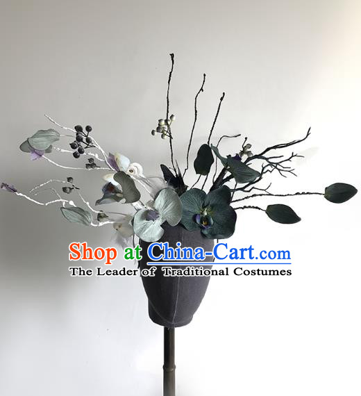 Top Grade Catwalks Hair Accessories Exaggerated Flowers Headdress Halloween Modern Fancywork Headwear