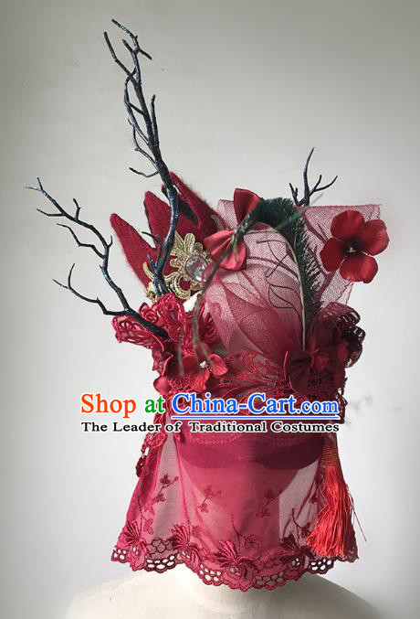 Halloween Catwalks Venice Red Veil Face Mask Fancy Ball Props Accessories Christmas Exaggerated Masks